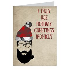"""Part of our new for 2015 """"#hipsterchristmas"""" collection, Ironic Santa is good for a non-traditional Christmas greeting (not to mention a laugh!), and features a bearded hipster Santa with pipe, glasses and holiday hat.  Set of 6 traditional full-sized (6.25 x 4.5 inches ) greeting cards.  Red Envelopes included."""