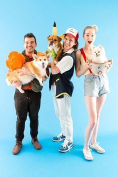 Dress up as Pokémon trainers with this easy DIY group Halloween costume project.