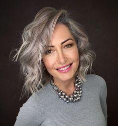 Grey Hair Over 50, Long Gray Hair, Silver Grey Hair, Grey Hair With Dark Roots, White Hair, Grey Hair Bob, Brown Hair Going Grey, Short Hair, Grey Bob