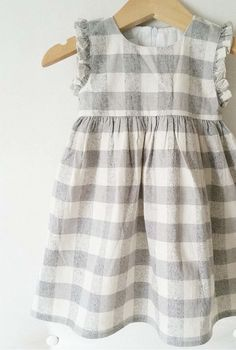 Handmade Check Linen Dress | CanvasHouseDesigns on Etsy