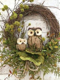 Fall Owl Wreath Fall Wreath for DoorFall Decor Fall Door