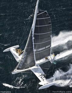 l'Hydroptere holds the world record of fastest sailboat (versus the speed record of a sailboard with sail) at 51.36 knots avg. over 500 meters as of November 12, 2009.