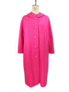 Flare sleeves and swingy shape add a touch of retro style. Big Fashion, Retro Fashion, Pink Wool Coat, Swing Coats, Vintage Coat, Vintage Ladies, Chef Jackets, Hot Pink, Girls Coats