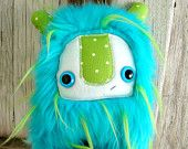 Monster plush, Stuffed Monster blue and green