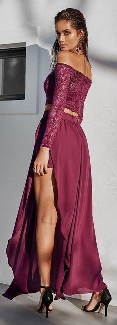 Burgundy Off Shoulder Maxi Dress