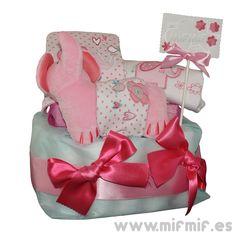 "Tarta de Pañales ""Éléphant Cake"" para niña disponible en http://www.mifmif.es"