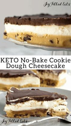 No-Bake Keto Cookie Dough Cheesecake – Low Carb, Grain-Free, Gluten-Free, Sugar-Free, THM S - With a layer of raw chocolate chip cookie doug. No Bake Cookie Dough, Cookie Dough Cheesecake, Chocolate Chip Cookie Dough, Keto No Bake Cheesecake, Keto Cake, Desserts With Cookie Dough, Cookie Recipes, Healthy Cheesecake Recipes, Quark Recipes