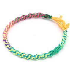 friendship bracelets | Spiral Neon Rainbow Friendship Bracelet