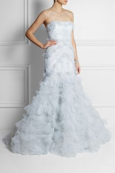 Marchesa | Strapless textured-tulle gown | NET-A-PORTER.COM