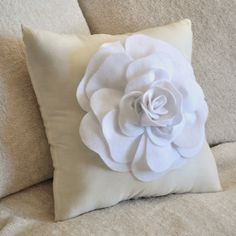 White Rose on Cream Pillow 14x14 by bedbuggs on Etsy, $31.00--Lovely!