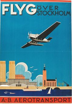 Swedish tourism poster (1931) by Anders Beckman, from the Swedish National Library