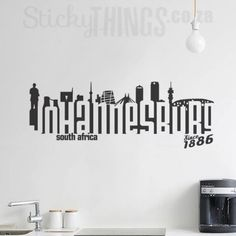 www.stickythings.co.za Our Wall Decal Johannesburg is the Johannesburg skyline plus a few extra landmarks as well! Courier delivery in Johannesburg (& across SA) plus free gifts. #stickythingswallstickers
