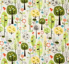 white Riley Blake fabric forest with birds mushrooms  cute fabric with many trees, birds, mushrooms, snails & more from the USA