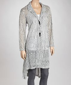 Take a look at this White Abstract Hi-Low Jacket by Come N See on #zulily today!