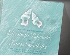 Country Beach Seashells Destination Wedding Invitations | Invites | Printable Invitation Cards or Printed