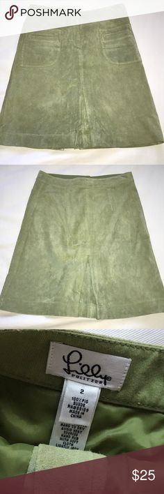 Lilly Pulitzer Suede Skirt #88189  apple green Lilly Pulitzer Skirts A-Line or Full