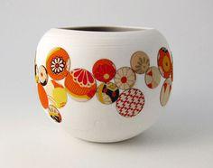 love, love Nadia Pignatone's beautiful ceramics. Blossom 5. - wheel-thrown porcelain and vintage kimono fabric.