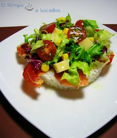 El tiempo a bocados: Ensalada, arroz Basmaty y crujiente de jamón