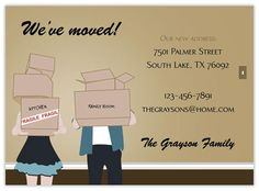 business moving announcement note card template design nonprofit