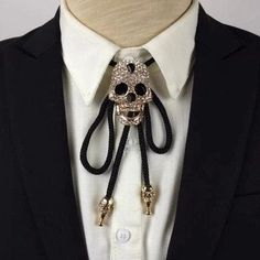 Dress accessories tie adjustable bolo diamond necklace skull head rope tie polo shirt