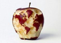 Cool! Weltkarte im Apfel