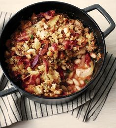 Sausage, Chicken, and White-Bean Gratin Martha Stewart Living One Dish Dinners, Dinner Dishes, One Pot Meals, Main Dishes, Chicken Recipes, Slow Cooker Recipes, Cooking Recipes, How To Cook Chili, Gourmet