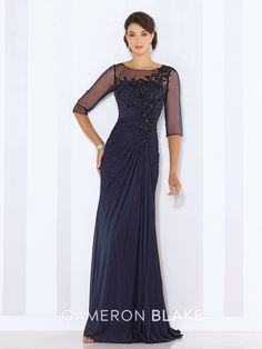 Cameron Blake - 116663 - Stretch mesh and tulle sheath with illusion three-quarter length sleeves, illusion bateau neckline, gathered bodice with hand-beaded lace appliqués, beaded illusion keyhole back, side draped skirt with center back gathers and sweep train.Sizes:4 – 20,16W – 26WColors:Navy Blue, Purple, Champagne