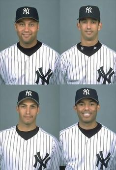 New York Yankees core four Jeter, Posada, Andy and Mo Yankees News, New York Yankees Baseball, Yankees Fan, Derek Jeter, Damn Yankees, Baseball Players, Soccer Jerseys, Mlb, Yankee Stadium