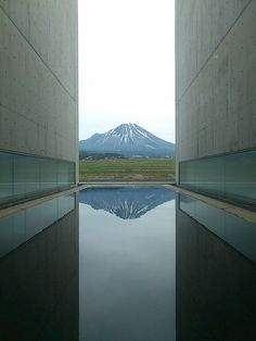 Mt. Hoki-fuji from Shoji Ueda Museum of Photography in Houki (near Yonago), Tottori, Japan. Built by the famous Japanese architect, Tadao Ando.