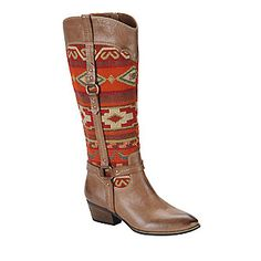 """Sofft """"Porter"""" Tall Boots in Mocha/Red/Orange"""