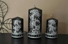 Contrast candle design  https://www.etsy.com/uk/listing/255574886/black-and-white-henna-embellished-candle