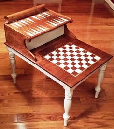 Solid Wood Game Table Repurposed From Vintage Telephone Table   Complete  With Handmade Checkers, Chess