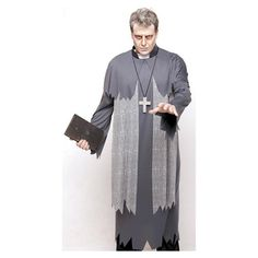 Scary Zombie Ghost Priest Halloween Costume