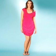 $18 Vestido-camiseta taillissime - largo 95 cm, con frunces, manga corta - 100 viscosa