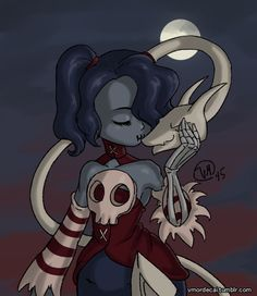 Drawlloween day 8 zombie Squigly and Leviathan from Skullgirls