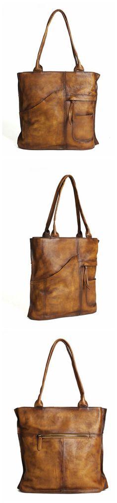 Vintage Brown Leather Tote Bag, Women's Designer Handbags DD103