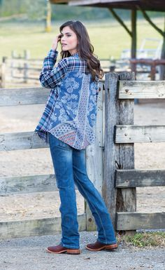 Sing the Blues Button Down Plaid Top