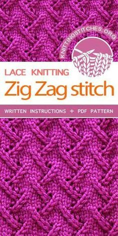 The Art of Lace Knitting, Knit Zig Zag Stitch. This is a fantastic pattern and written very well. The Art of Lace Knitting, Knit Zig Zag Stitch. This is a fantastic pattern and written very well. Lace Knitting Stitches, Lace Knitting Patterns, Loom Knitting, Knitting Designs, Knitting Needles, Free Knitting, Loom Patterns, Stitch Patterns, Easy Knitting Projects