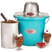 Nostalgia Electrics 4-Qt. Plastic Bucket Ice Cream Maker, Blue