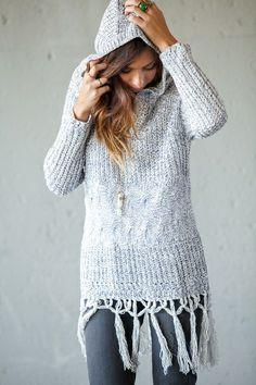 Knitted fringe hoodies.