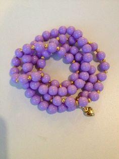 purple beaded bracelet pulseira de contas roxa