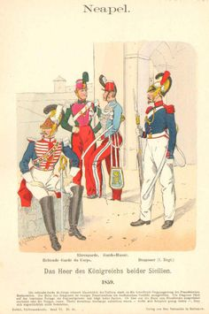 """Hand Colored Print from """"Uniformenkunde"""" by Richard Knotel: Neapel. 1859 in Art, Art from Dealers & Resellers, Prints Military Art, Military History, Two Sicilies, Modern Warfare, Hand Coloring, Victorian Era, Old Things, Military Dresses, Military Uniforms"""
