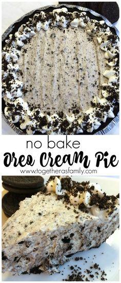 (no bake) OREO CREAM PIE | www.togetherasfamily.com