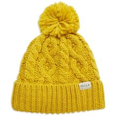 Rella Cuffed Pom Hat ($48) ❤ liked on Polyvore featuring accessories, hats, yellow, cable hat, yellow hat, cable knit hat, fleece lined hat and pom pom hat