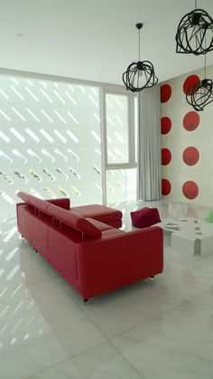 Red sofa. This is gorgeous.