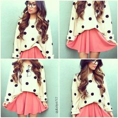 White over-sized white sweater with black polka dots and pink circle skirt