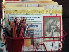 Dish Drainer File System    Kitchen supplies have often made their way into the home office, like cookie tins for cord storage and cans to hold pens and pencils. But Brenda Pruitt really thought outside the box when she used a plastic dish drainer as a home office file organizer.