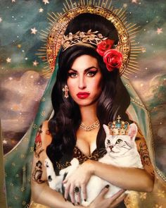 Saint Amy Winehouse Art Print vierge gitane par DirtyLola Who is Dirty Lola? Spiritual Tattoo, Amy Winehouse Style, Frida Art, Scarlett, Pin Up, Arte Pop, Cultura Pop, Popular Tattoos, Fan Art