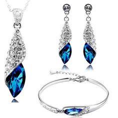 Valentine Gift By Shining Diva Best Selling Italian Designer Jewellery Set for Women (Blue) Women's Jewelry Sets, Jewelry Stores, Women Jewelry, Crystal Jewelry, Metal Jewelry, Crystal Pendant, Pendant Set, Crystal Necklace, Silver Jewelry