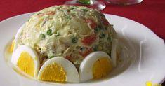 Insalata russa (ricetta antipasto). Ricetta antipasto freddo per Natale e Capodanno facile ed economico: zuccotto di insalata russa decorato con uova sode